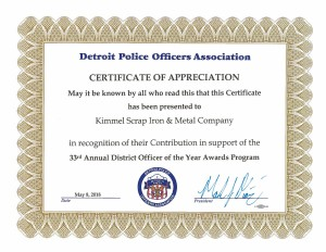 Detroit Police Officers Association - Certificate of Appreciation. 33rd Annual Officer of the Year Award
